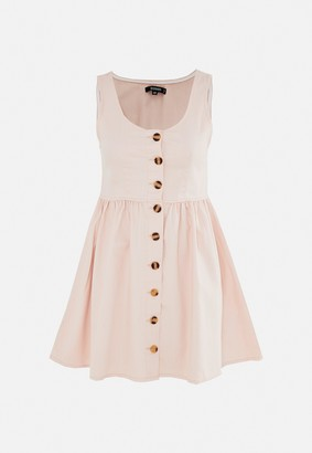 Missguided Blush Button Through Denim Skater Dress