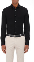 Luciano Barbera Men's Cotton Piqué Shirt-BLACK