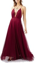 Topshop Women's Lace-Up Tulle Maxi Dress