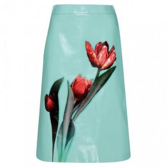 Prada Blue Leather Skirt for Women