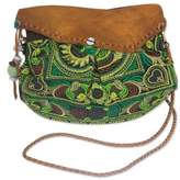 Ethnic Embroidered Bag with Leather Accent from Thailand, 'Green Mandarin Smile'