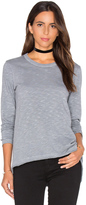 Wilt Shrunken Crew Unfinished Hem Long Sleeve Top