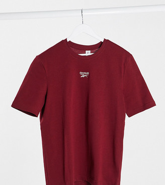 Reebok boyfriend fit t-shirt with central logo in burgundy exclusive to ASOS