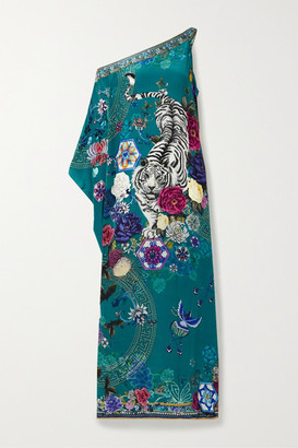 Camilla One-sleeve Printed Silk Crepe De Chine Maxi Dress - Turquoise