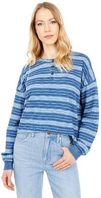 Madewell Roster Henley Tee in Indigo Stripe (Indigo) Women's Clothing