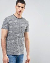 Solid T-Shirt In Stripe Texture With Pocket