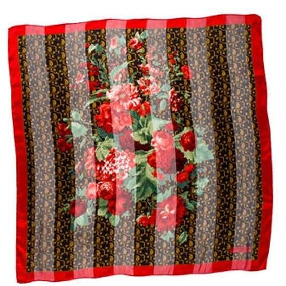 Balenciaga Silk Printed Scarf Red Silk Printed Scarf