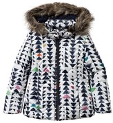 Catimini White Multi Triangle Print Padded Coat with Detachable Faux Fur Hood