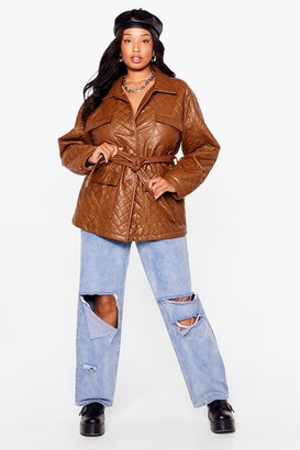 Nasty Gal Womens Callin' It Quilts Plus Faux Leather Belted Jacket - Tan