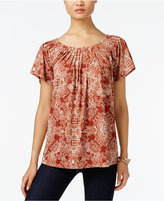 Style&Co. Style & Co. Printed Pleat-Neck Top, Only at Macy's