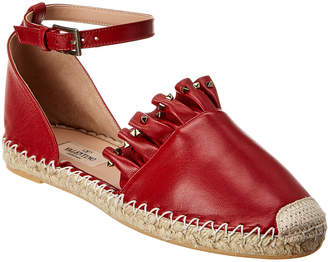Valentino Rockstud Leather Espadrille
