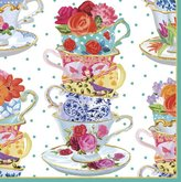 Caspari Tea Cups Paper Luncheon Napkins, Pack of 20