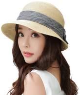 Siggi Womens Floppy Summer Sun Beach Panama Straw Hats SPF50+ Crushable Bucket Cloche Hat 56-59cm White