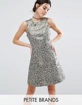 Vero Moda Petite Feather Jacquard Skater Dress
