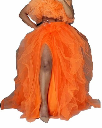 Springcmy Women Layered Mesh Tulle Skirt Feast A-line Puff Mesh Front Split Princess Skirt High-Waist Half-Dress (A White One Size)