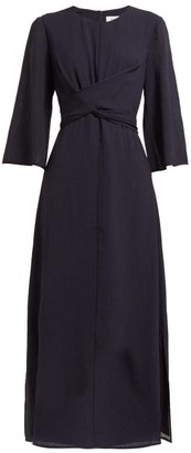 Cefinn - Wrap-bodice Voile Midi Dress - Womens - Navy Multi