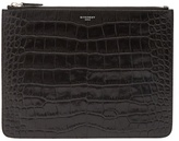 Givenchy Crocodile-effect embossed-leather document holder