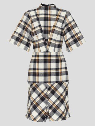 Victoria Beckham Short Sleeve Flannel Paneled Mini Dress