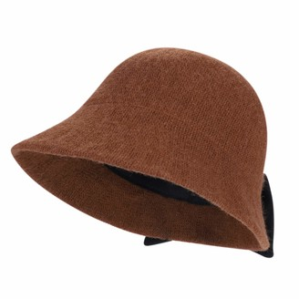 ITODA Women Winter Bowler Hats Ladies Wool Cloche Hat Vintage Derby Party Bucket hat Round Elegant Knitted Cap with Bow Foldable Brim Cap Soft Crushable SIGGI Plush Church Cap for Grils Red
