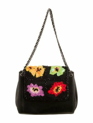 Chanel Embroidered Flap Bag Black