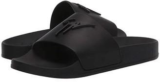 Giuseppe Zanotti Brett Leather Slide Sandal (Birel/Vague Nero) Women's Shoes