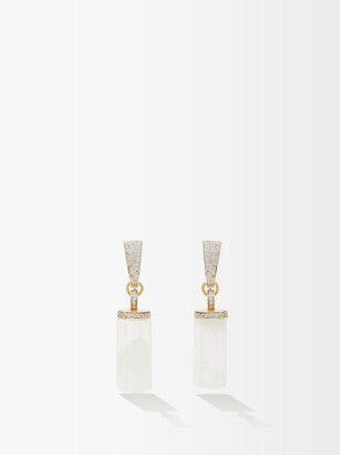Jade Jagger Moonstone, Diamond & 18kt Gold Drop Earrings - Womens - White Multi