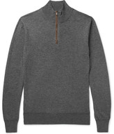 Hackett Slim-fit Suede-trimmed Wool And Cotton-blend Half-zip Sweater - Gray