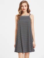 Romwe Striped Swing Cami Dress
