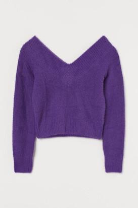 H&M V-neck Sweater - Purple