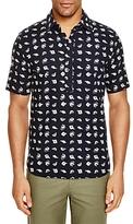 3x1 Fish Print Regular Fit Popover Shirt