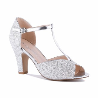 Pink Paradox London Women's Ladies Quincy Silver Glitter High Heel Vintage T-Bar Bridal Wedding Sandal Occasion Dress Peep Toe
