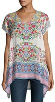 Johnny Was Trends Short-Sleeve Printed Top, Petite