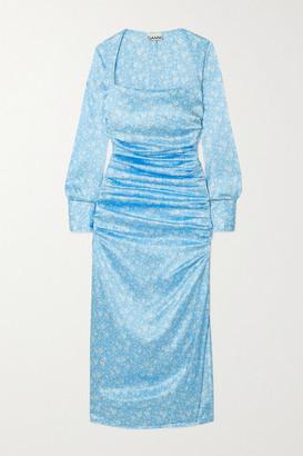 Ganni Ruched Floral-print Stretch Silk-satin Midi Dress - Blue