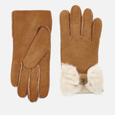 UGG Women's Sheepskin Bow Gloves - Chestnut