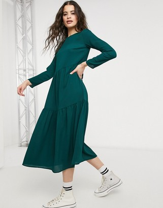 ASOS DESIGN long sleeve tiered smock midi dress in forest green