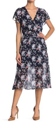 Rowa Flutter Sleeve Elastic Waist Dress