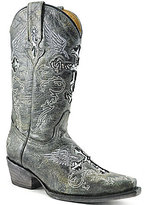 Volatile Rocker Leather Cross Embellished Wing Embroidered Western Boots