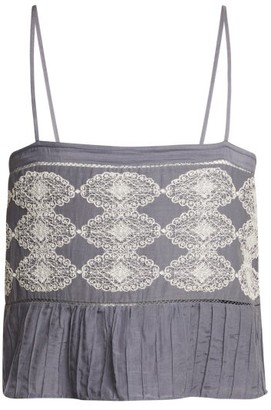 Thierry Colson Saksi Lace Embroidered Cami Top - Womens - Grey White