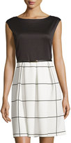Neiman Marcus Windowpane-Print Pleated Dress, Black/White