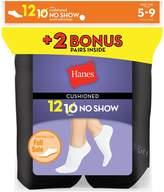 Hanes Women`s 12-Pack Cushion No-Show Socks, 650/12