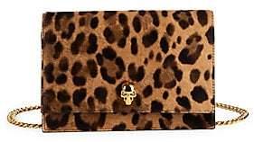 Alexander McQueen Women's Mini Skull Leopard-Print Pony Hair Crossbody Bag