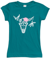 Urban Smalls Peacock Floral Buffalo Skull Fitted Tee - Toddler & Girls