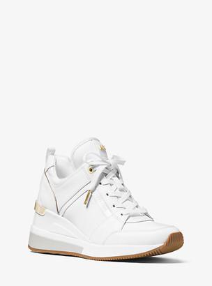 MICHAEL Michael Kors MK Georgie Canvas and Leather Sneaker - Optic White - Michael Kors