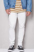 PacSun Stacked Skinny Side Zip White Raw Hem Stretch Jeans