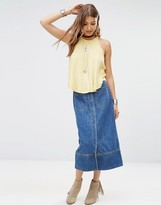 Free People Just A Dream Long Denim Skirt