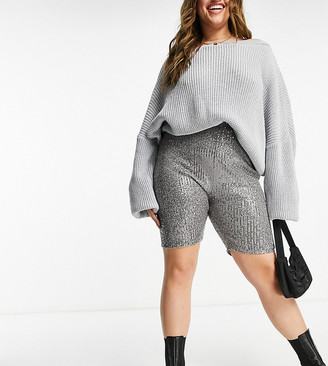 Club L London Plus sequin bodycon shorts in gunmetal