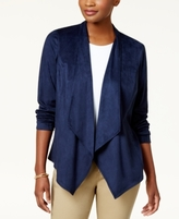 JM Collection Petite Open-Front Moleskin Jacket, Created for Macy's