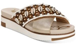 Sam Edelman Women's Austen Seashell Crossband Flat Sandals Women's Shoes