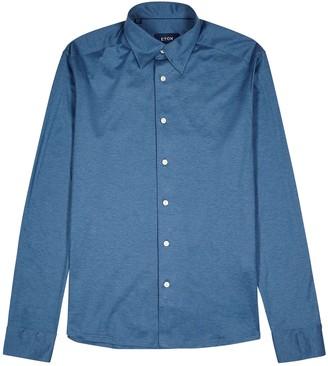 Eton Blue cotton-jersey shirt