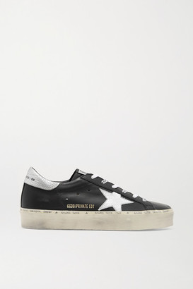 Golden Goose Hi Star Distressed Leather Sneakers - Black